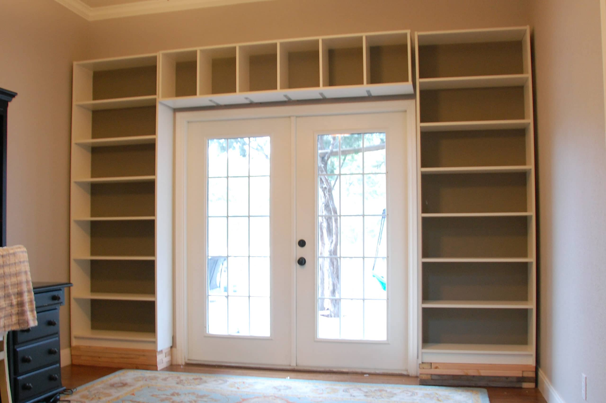 Bookcases installed but no trim