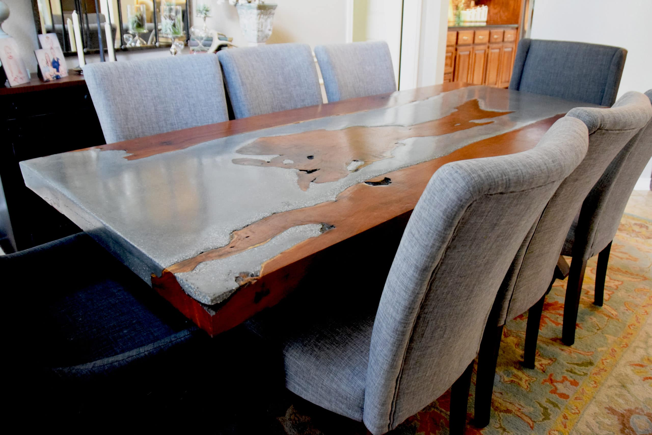 wide angle view of concrete and wood table
